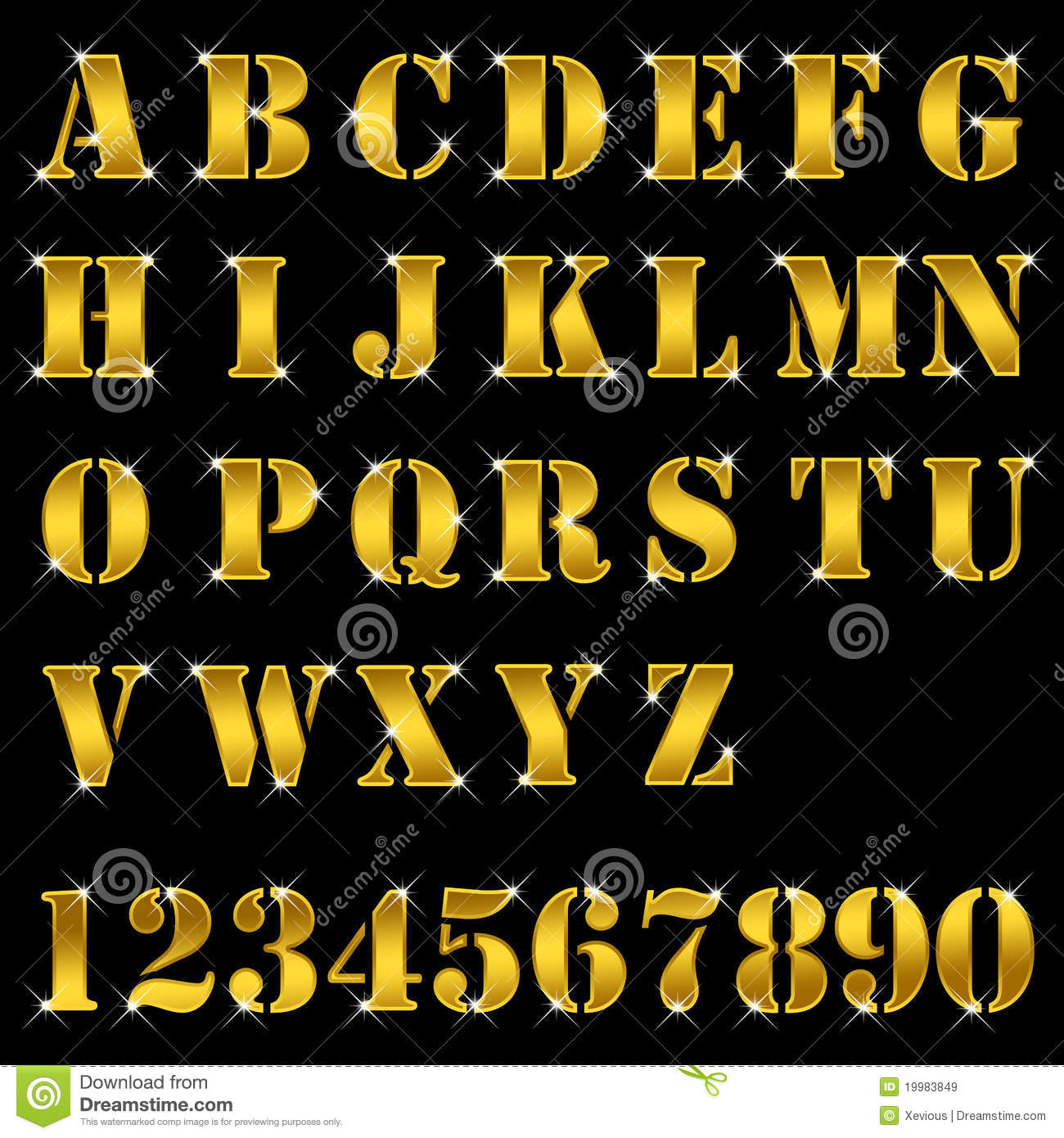 Gold Alphabet Letters Numbers