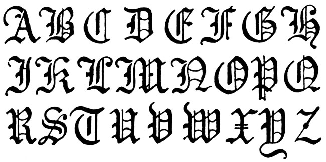Gothic Lettering Styles Alphabet