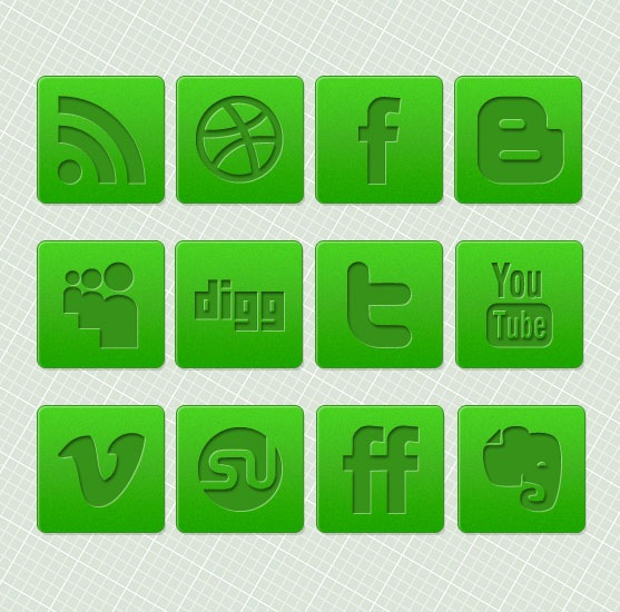 18 Social Media Icons Green Images
