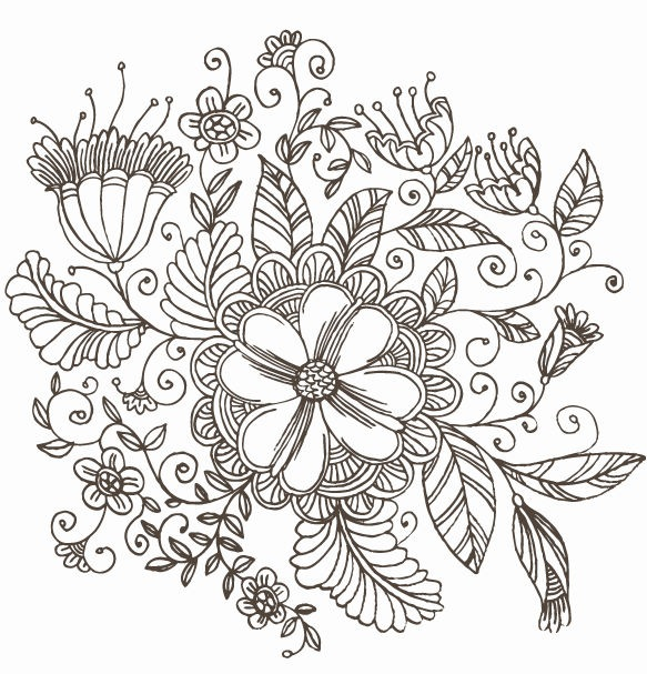 Line Drawing Swirl Flower Pattern