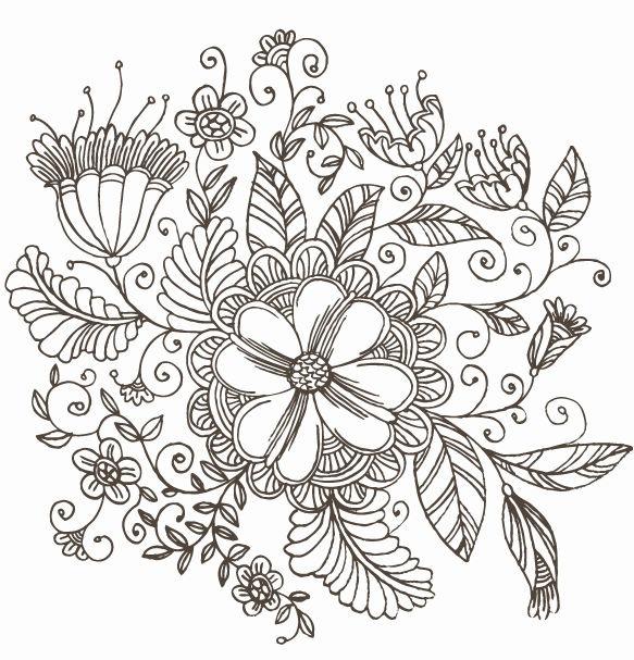 Line Drawing Swirl Flower Pattern