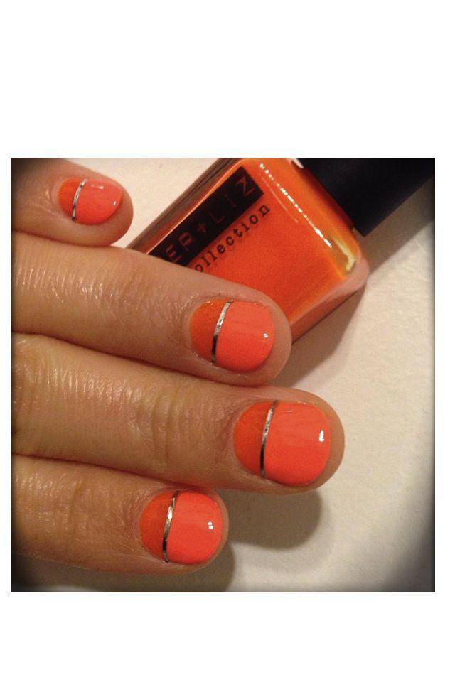 Orange Color Nails Design