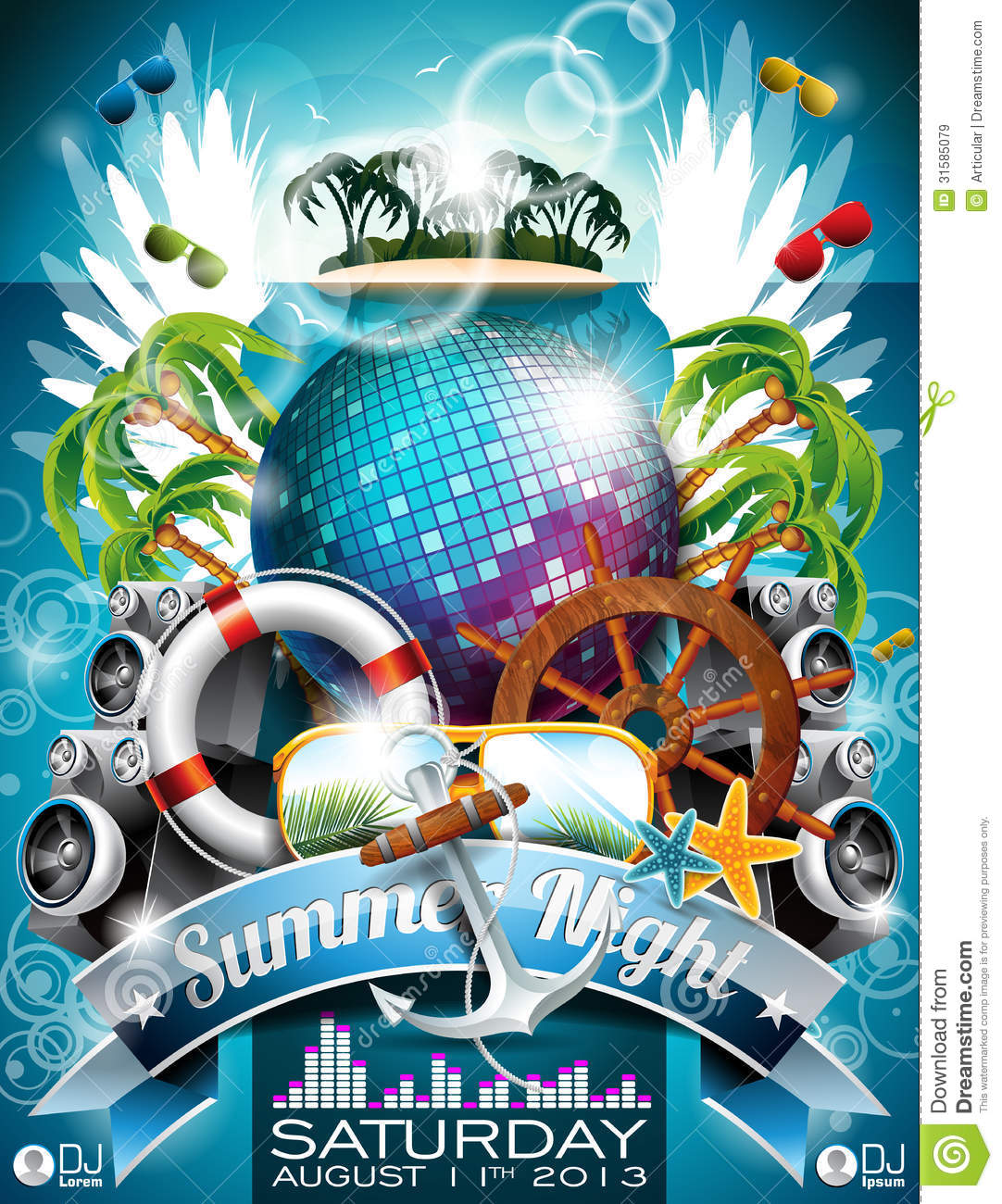 13 Beach Party Vector Images