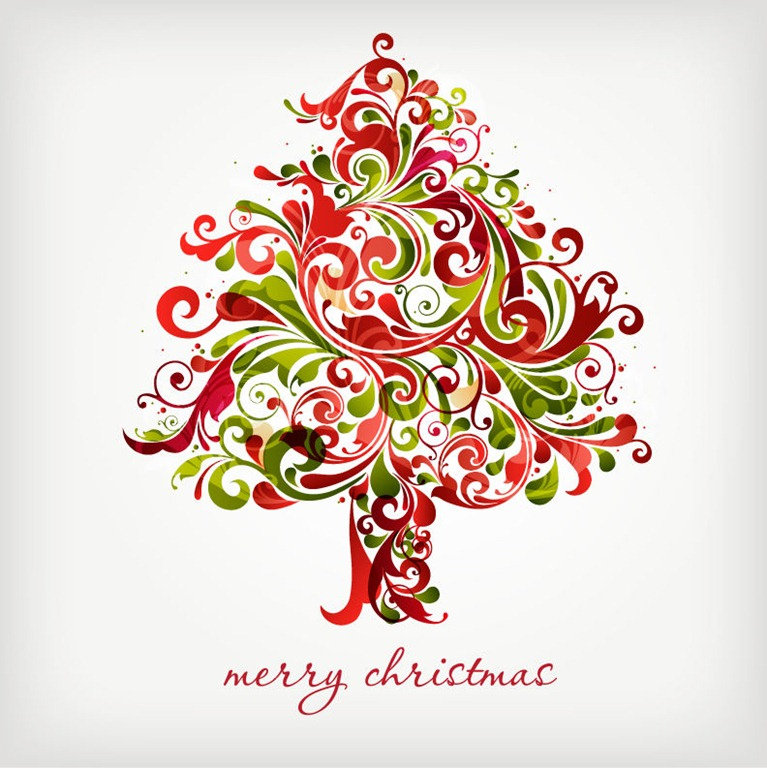 12 Swirl Christmas Tree Vector Images