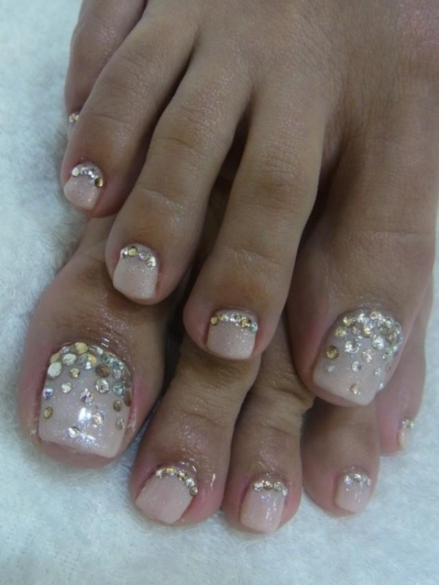 Wedding Bling Toe Nails Design