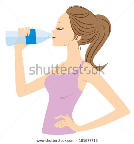 Woman Drinking Water Clip Art