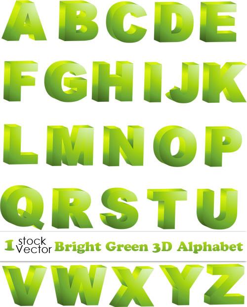 3D Alphabet Letters Vector