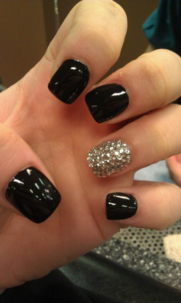 All-Black Nails with Rhinestones