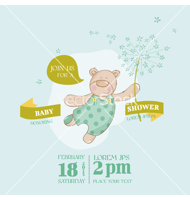 Baby Shower Card with Bear and Flowers