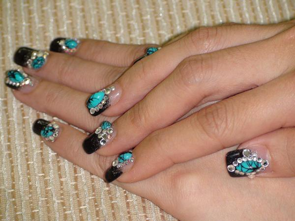 Black and Turquoise 3D Nail Art