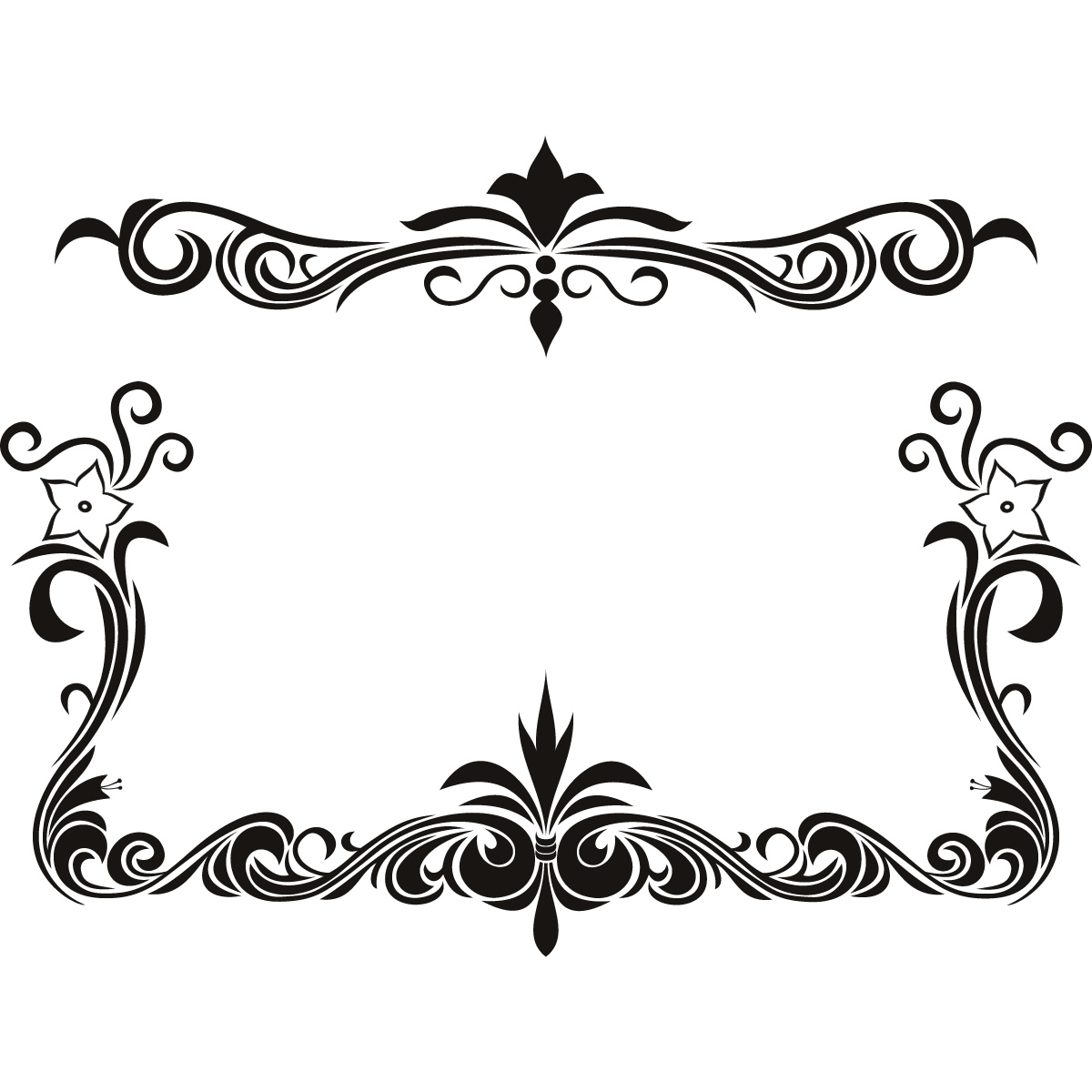 Black Flower Border Design