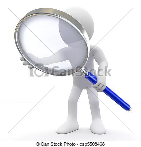 Cartoon Man with Magnifying Glass Clip Art