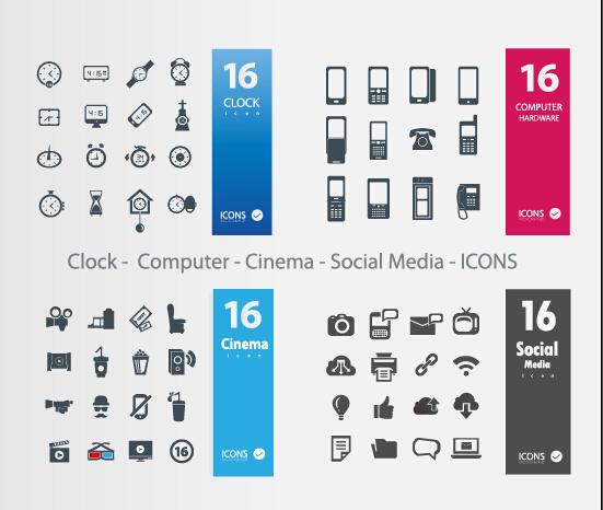 Clock Social Media Icons