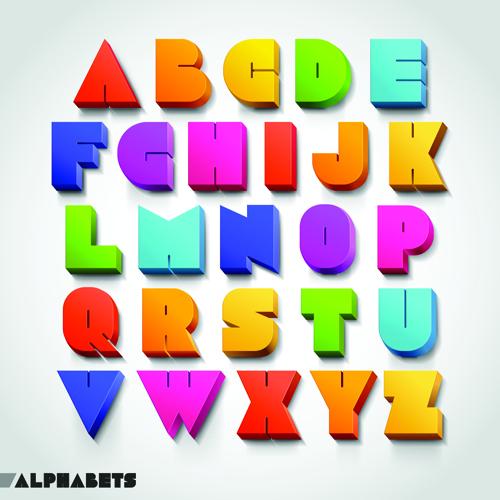 Colorful 3D Alphabet Font