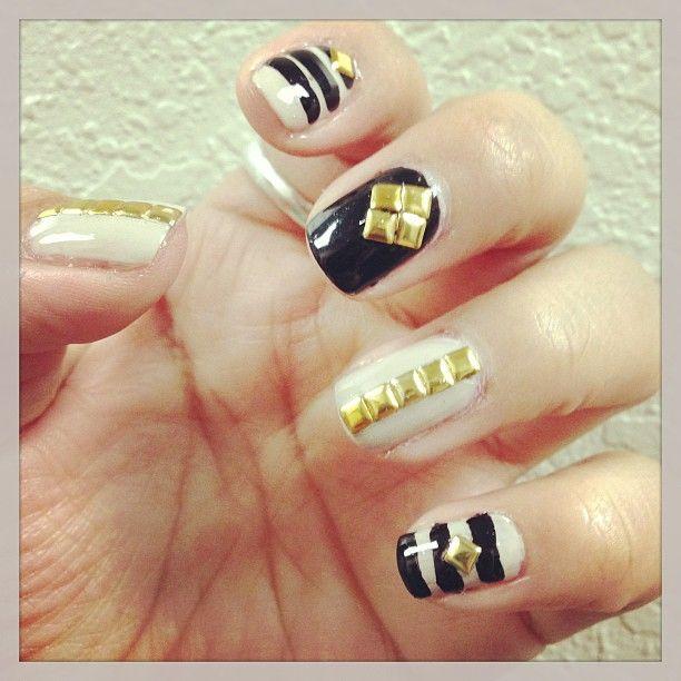 Cream and Black Nails Design
