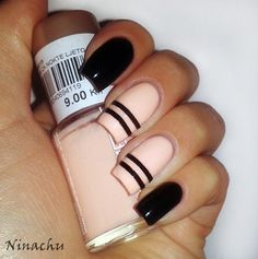 Cream and Pink Nails Designs