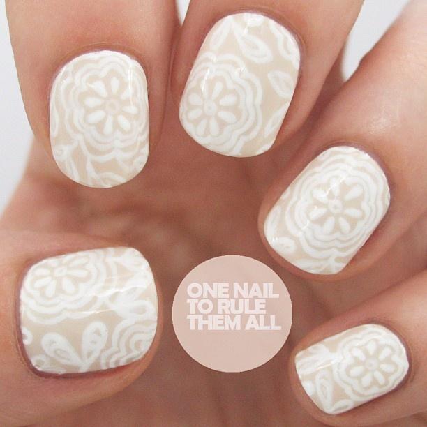 Cream and White Nail Designs