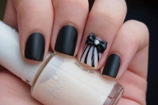 Cute Black Nail Designs with 3D Bows