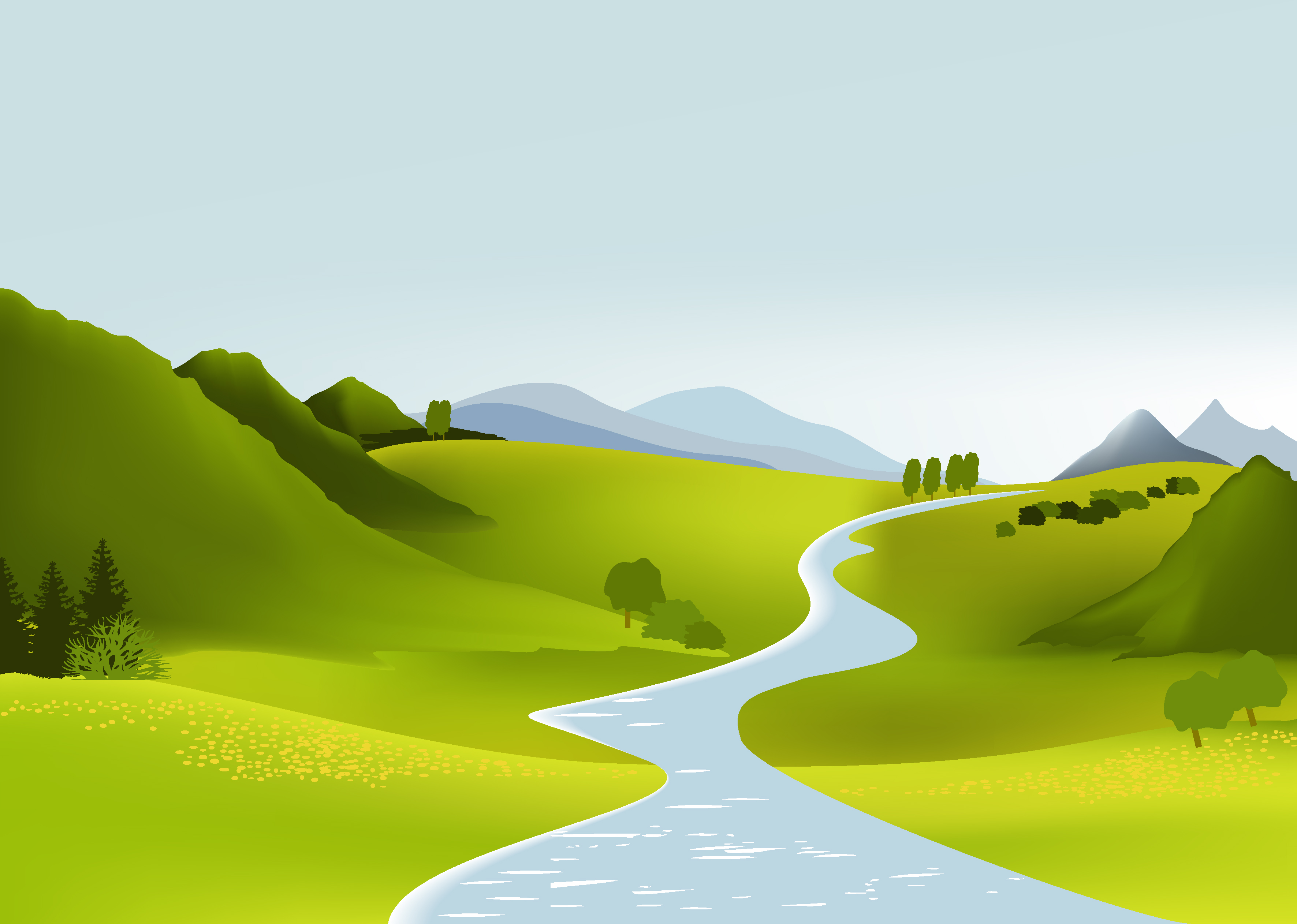 12 Free Vector Cartoon Landscape Images