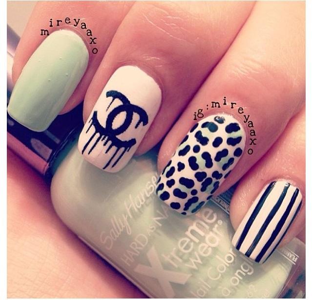 Each Finger Different Nail Art Designs