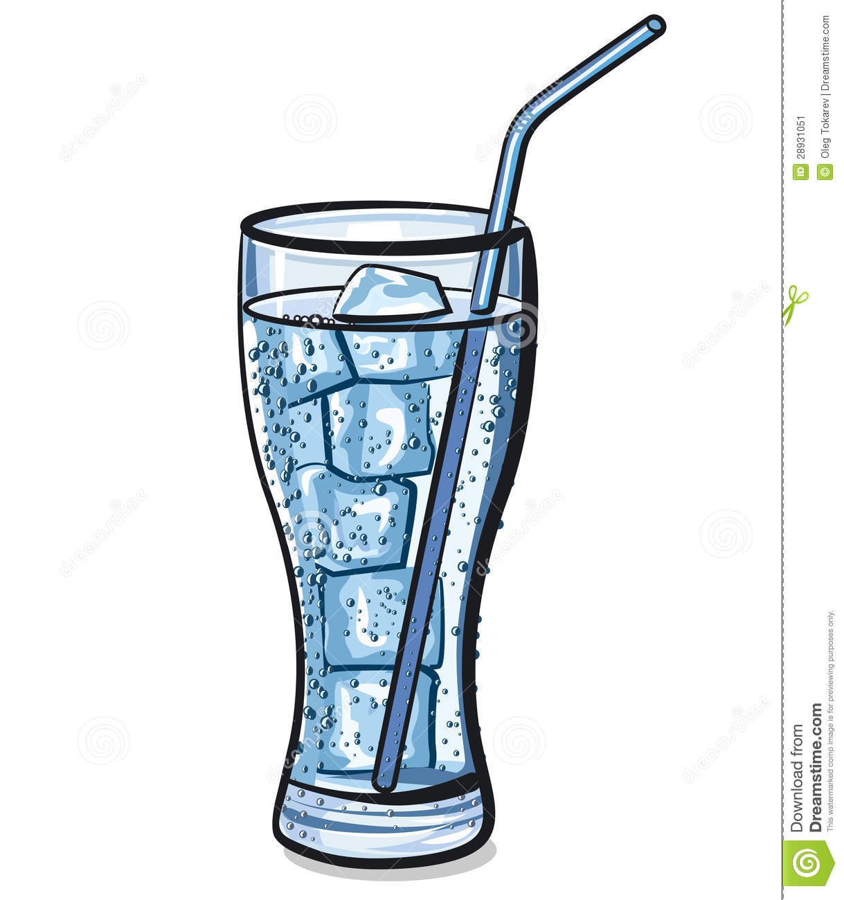 Glass of Water with Ice Clip Art