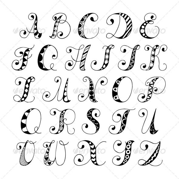 Hand Drawn Fonts Alphabet Letters