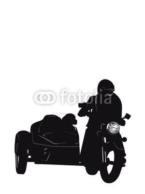 Motorcycle with Side Car Silhouette