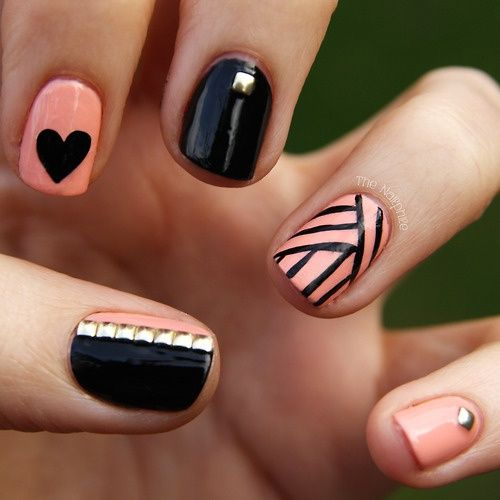 19 Each Finger Different Nails Designs Images Peach And Black Nail