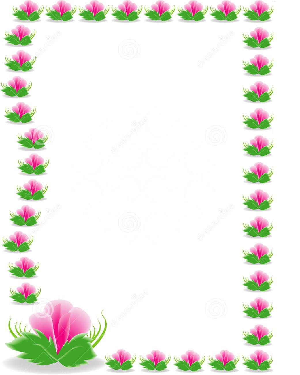Pink and Green Flower Border