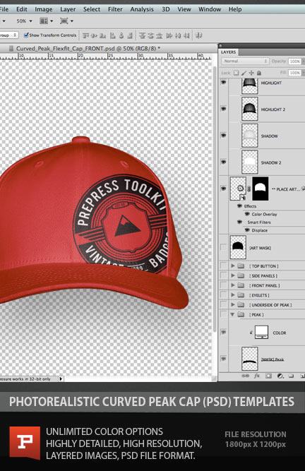 Snapback Hat Template Free Photoshop Mockup