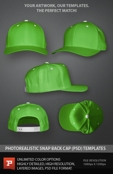 Snapback Hats Templates Photoshop