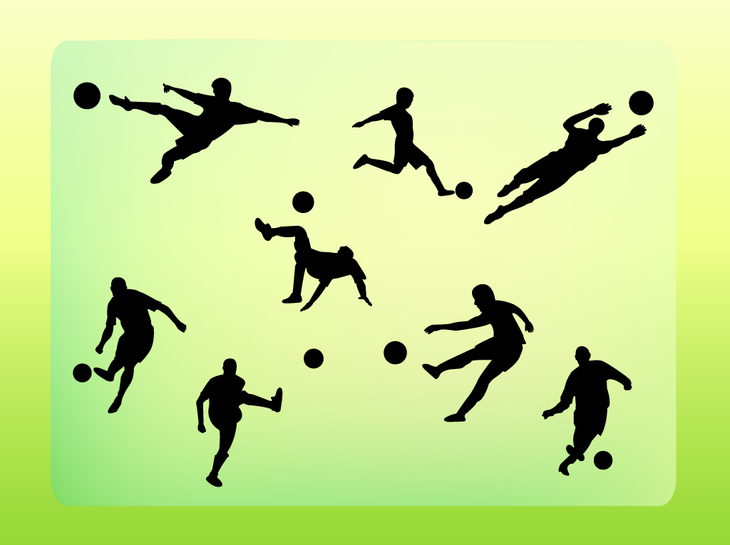 17 Soccer Vector Silhouettes Images