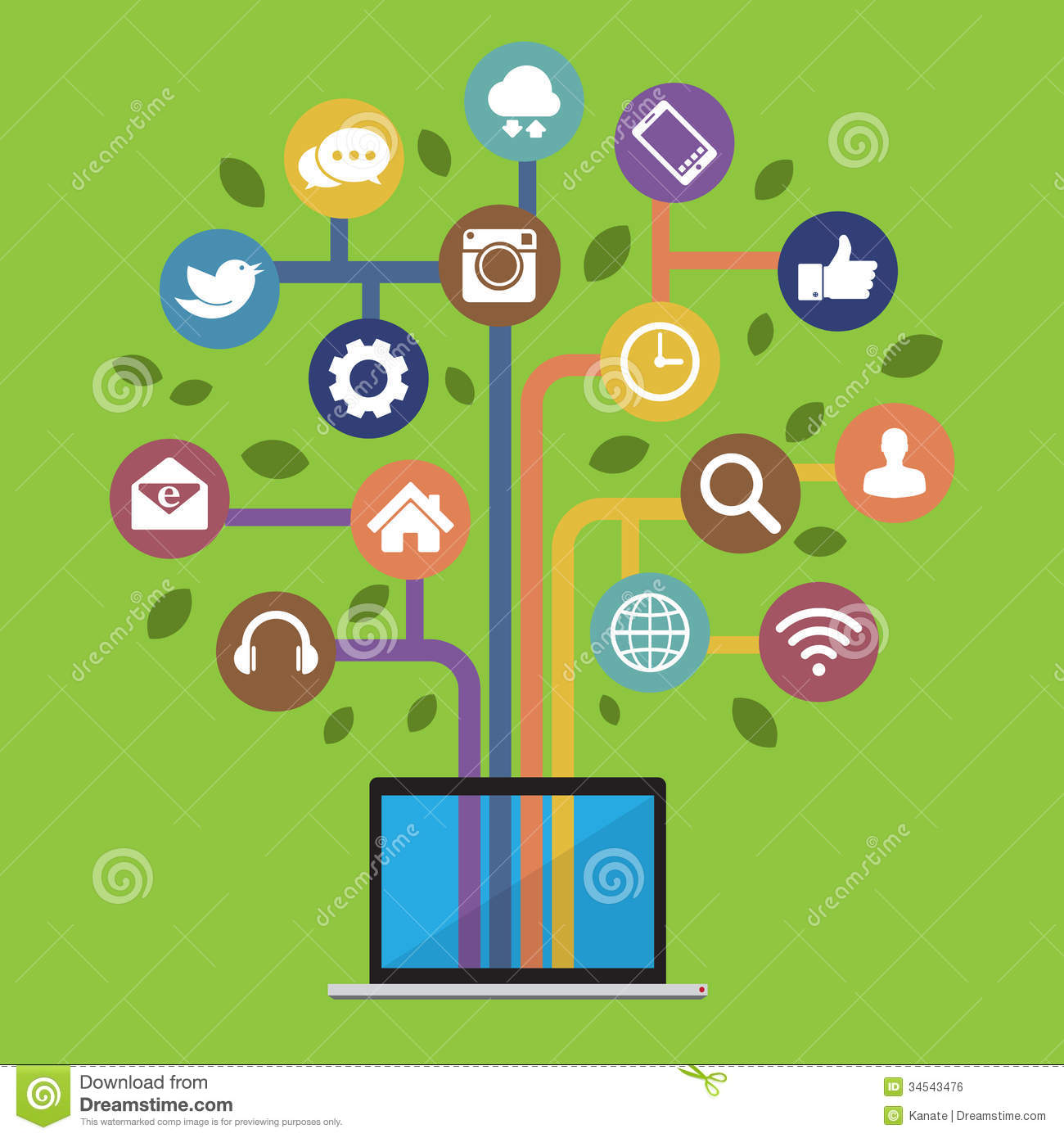 Social Media Icons with Computer