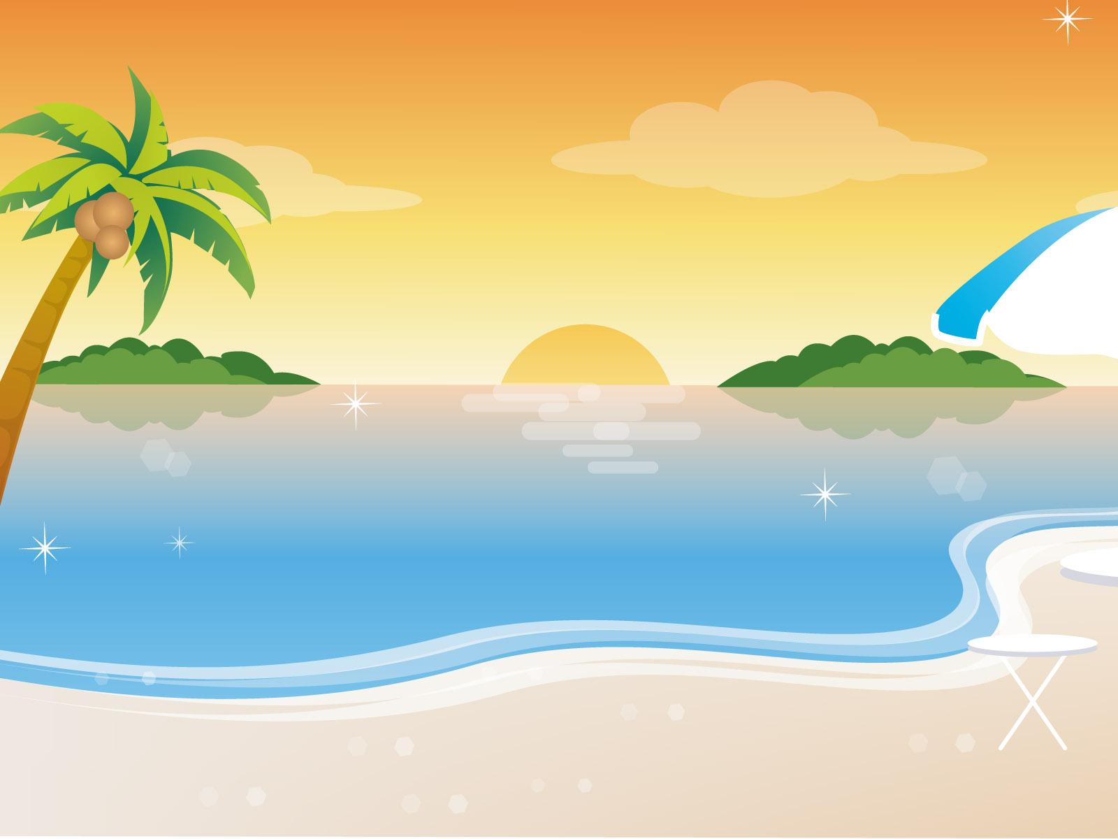 11 Cute Vector Cartoon Beach Images