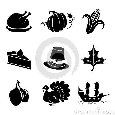 Thanksgiving Clip Art Black and White Icon