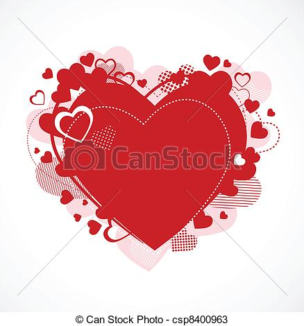 Vintage Red Heart Clip Art Vector