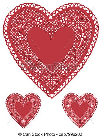 Vintage Red Lace Heart Clip Art