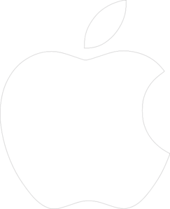 White Apple Logo with Transparent Background