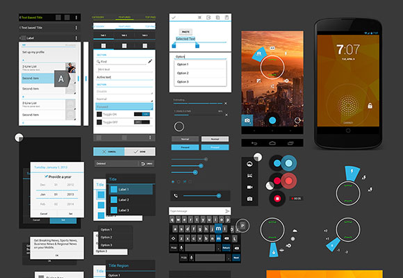 12 Android UI Template PSD Images