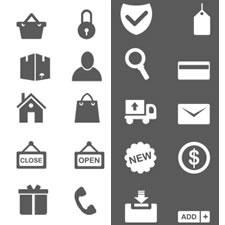 Black and White Shopping Icon