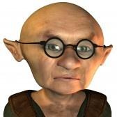 Cartoon Bald Man with Glasses