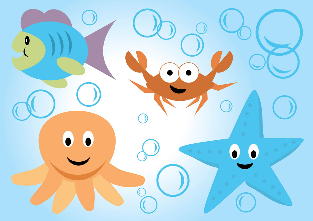 18 Vector Cartoon Ocean Life Images