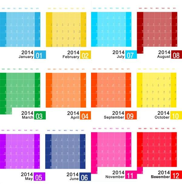 Colorful Calendar Templates 2014