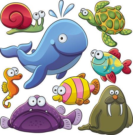 Cute Cartoon Underwater Animals