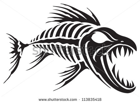 6 Fish Skeleton Vector Images