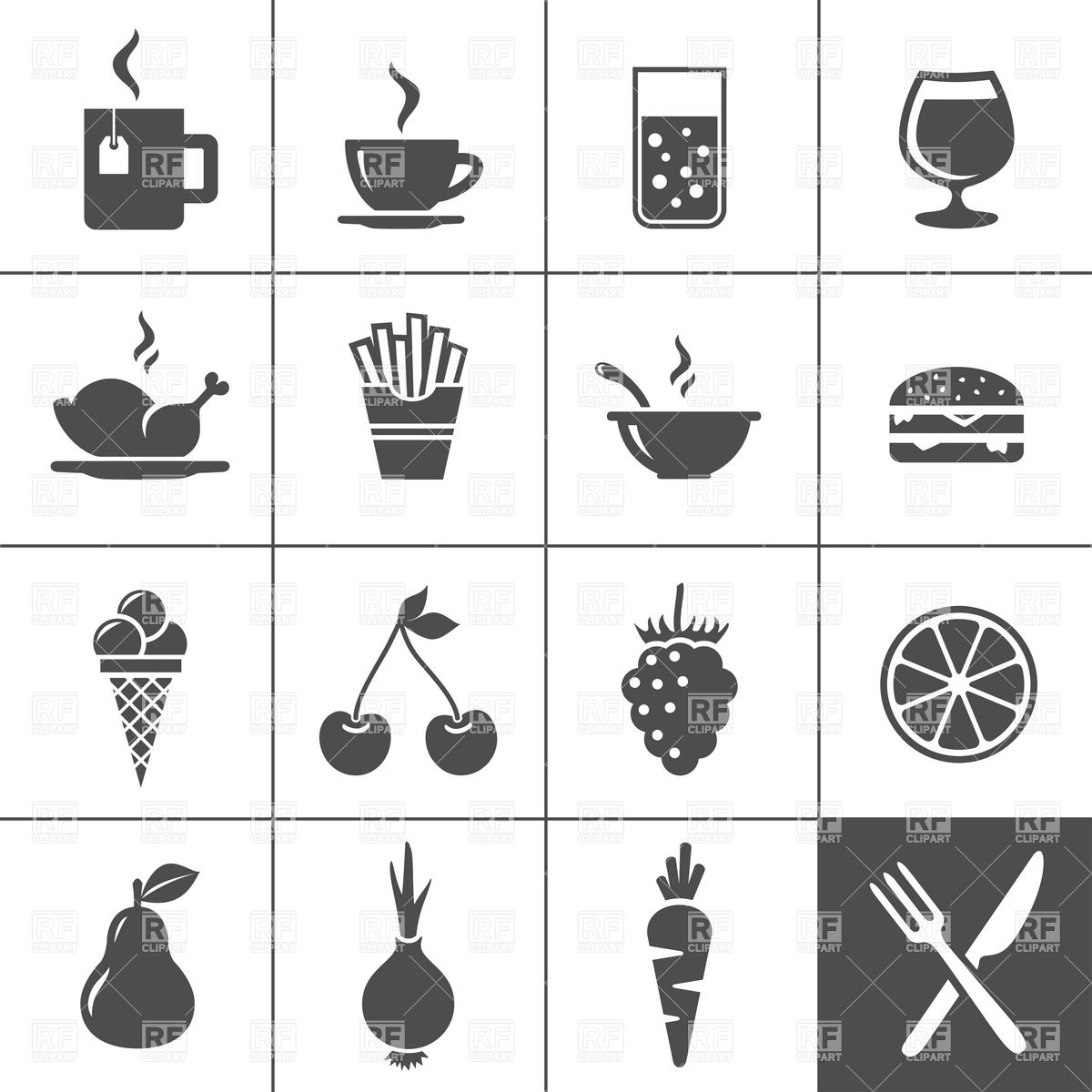 20 Fast Food Icon Vector Images