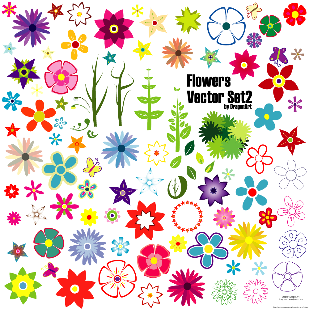 15 Free Vectors Flowers Set Images