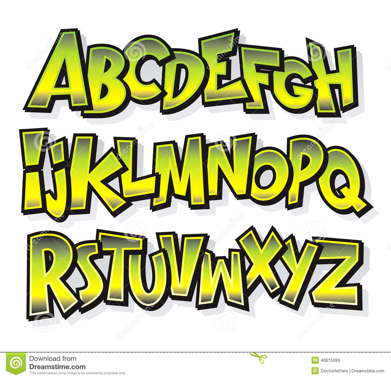 Free Vector Comic Cartoon Font Alphabet Doodle