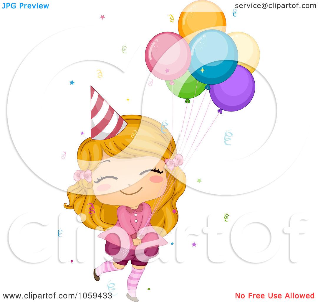 Girl Birthday Balloon Clip Art