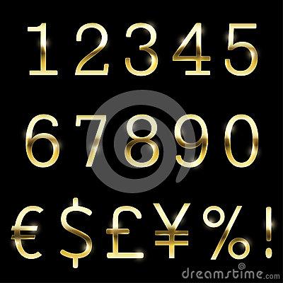Gold Set Vector Fonts